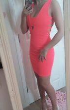 Bnwot sexy size 8 river island neon bright coral mini dress cut out side plunge