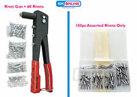 Pop Rivet Riveter Gun with 60 Rivets and Nozzles OR 100pc Assorted Rivets Amtech