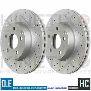 FOR BENTLEY CONTINENTAL 6.0 REAR LEFT RIGHT DRILLED BRAKE DISCS PAIR 355mm
