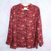 CJ Banks 2X Red Orange Boho Floral Tropical Faux Suede Shirt Top Blouse Plus
