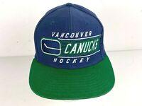 CCM Vancouver Canucks Blue Green Snapback Hat Cap Hockey Vintage Old School Logo