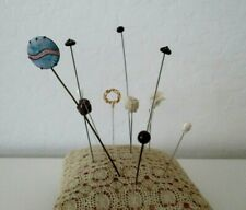 Vintage Hand Sewn Pin Cushion Holder With 12  Hat Pins