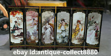 Chinese Lacquer Ware Hand Painting Ancient Beauty Ladies Screen Folding Screen 2
