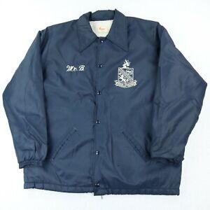 Vintage Coaches Jacket Sherpa Lined Collegiate Men's XL Navy Blue 100% Nylon