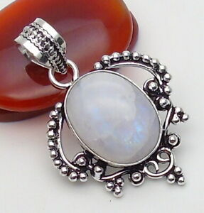 Moonstone Gemstone Jewellery Pendant 925 Silver OVERLAY Hand Made 42mm