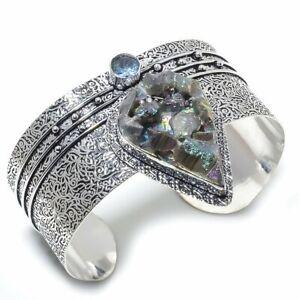 Titanium Druzy, Blue Topaz Ethnic 925 Sterling Silver Cuff Bracelet Adjustable