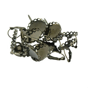 12 Stk. Rund Leer Bezel Ohrringe Cabochon Behälter Metall Basis Trägerelemente