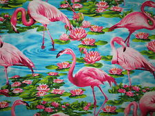 FLAMINGOS BIRDS IN WATER PINK COTTON FABRIC FQ