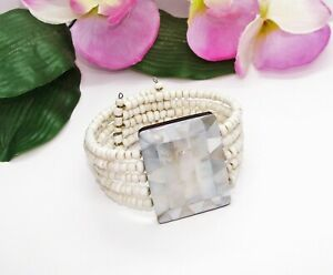 Pretty! 5 Row White Glass Beads & Mother Of Pearl Mosaic Memory Wire Bracelet!