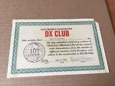 """Vintage Original 1969 Electronics Illustrated """"DX Club"""" Certificate-10 Countries"""