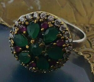 Antik Wunderschöner und echter 925 Silber Ring 18,1 mm mit Natursteine US 8 /U57