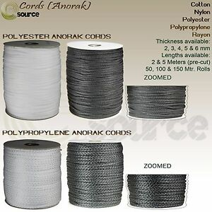 POLYESTER & POLYPROPYLENE CORDS ANORAK DRAWSTRING COTTON CORDS Pre Cut and Rolls