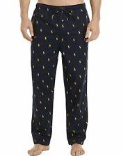 Polo Ralph Lauren Mens Sz M Navy Blue Polo All Over Logo Flannel Pajama Pants