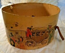 Stagecoach Stable Antique Knox New York Oval paper Hat Box Leather strap