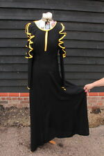ICONIC VINTAGE 'OSSIE CLARK' Black 'Moss Crepe' evening dress with yellow trims