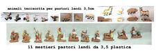 11 pastori landi 3,5 cm plastica e 13 animali terracotta presepe crib shepherds