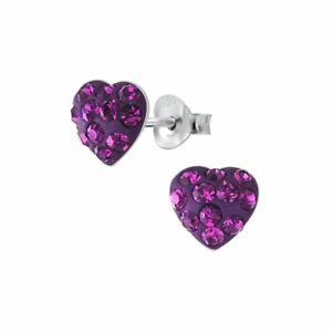 Sterling Silver Ladies Childrens Girls Purple HEART Stud Earrings Gift Boxed