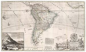 Old Vintage Decorative Map of South America Moll 1732