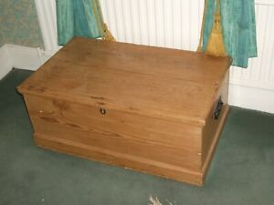 REDUCED: Antique Pine Blanket Toy Box, Original fittings - storage, coffee table