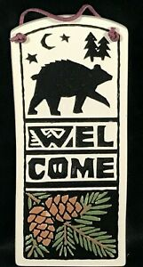 SPOONER CREEK Michael Macone Etched Clay Welcome Plaque Black Bear