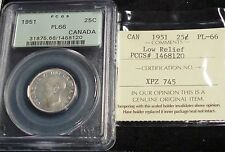 CANADA  George VI 1951 25 Cents Low Relief  . PCGS PL66