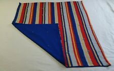 Vintage Baby Blanket Small Picnic Blanket Polyester Blue Red Stripes 35 x 40
