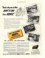 1950 ORIGINAL VINTAGE HERTZ CAR  RENTAL MAGAZINE AD