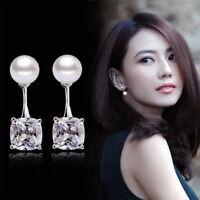 1 Pair Fashion Rhodium Women Girls Pearl Stud Earrings Zircon Silver Plated