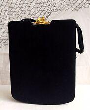 Vintage BIENEN-DAVIS Handbag Purse Black Ultra Suede Gold Tone 3D Cherub Clasp