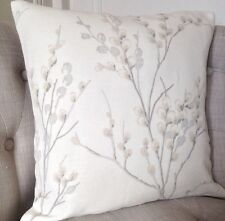 """16"""" Cushion Cover in Laura Ashley Pussy Willow Off White Dove Grey/Austen Grey"""