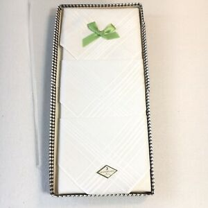 Vintage Men's White Handkerchiefs - Set of 3 in Box - All Cotton - tape stains