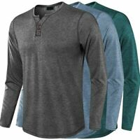 Men's Long Sleeve V-neck Tshirt Solid Casual Henley T-Shirts Man Tops Tee Clothe