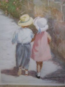 """IVAN ANDERSON GIRL AND BOY WALKING LITHOGRAPH PRINT, HAND SIGNED, 21"""" X 17"""""""