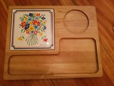 Vintage Mid Century George Briard Signed Cheese Cracker Wood Floral Tile Tray!
