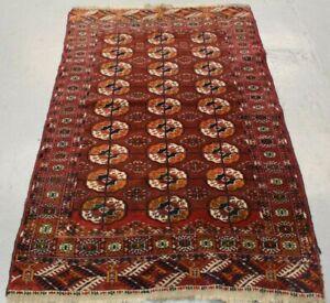 Handmade Antique Oriental Turkmen Bukhara Design Wool Rug 160cm x 102cm