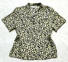 Vintage Size 16 Blouse Cheetah Print Claudia Richard Button Down Short Sleeves