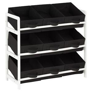 Hartleys 3 Tier Storage Shelf Unit Kids Childrens Bedroom Boxes/Drawers Toy Box
