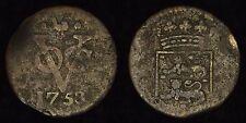 """NETHERLANDS VOC (WEST FRIESLAND) - 1753 Duit - So-called """"New York Penny"""""""