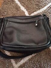 Large Black Leather Messenger Bag By Milleni