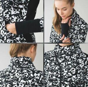 NWT $118 LULULEMON Cozy Cuddle Up Jacket Sz6 Black White Floral Soft Thick Warm