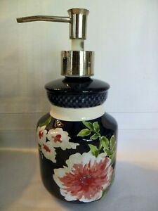 CROSCILL NARA  Cobalt Blue with Pink Florals Soap/ Lotion Bottle with Pump