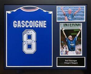 FRAMED PAUL GASCOIGNE SIGNED GLASGOW RANGERS FOOTBALL SHIRT + COA + PROOF GAZZA