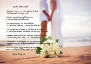 A4 POEM TO YOUR SON / DAUGHTER ON WEDDING DAY IDEAL FOR FRAMING GREAT KEEPSAKE
