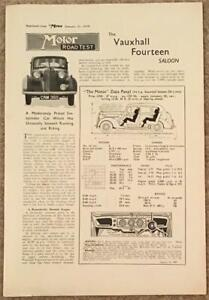 VAUXHALL FOURTEEN SALOON 1939 Road Test Reprint from The Motor Magazine #4297-39