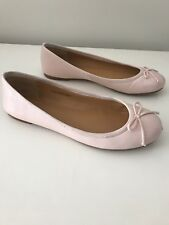 J. Crew Pink Ballet Flats 8.5 Leather Pale Pink Bow