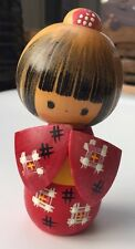 "Vintage Japanese 4.5"" KOKESHI DOLL Hand Painted Wooden Figure Japan"