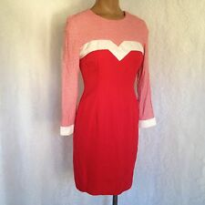 Vtg 80's Donna Ricco Red White Gingham Top Long Sleeve Red Sheath Dress Size Ps