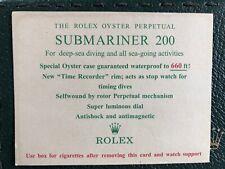 Rolex cigarette card -inserto sigarette-per Submariner 200 m. 5512 5513 6538 etc
