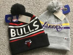 BNWT Official NBA Mens Basketball Knitted Bobble Hat LA Lakers Chicago Bulls