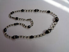 """Bead & Clear 20""""Wedding Party goth Antique Necklace Graduated French Jet Glass"""